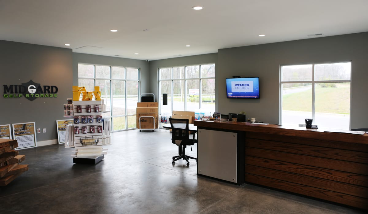 Leasing office at Midgard Self Storage in Lake Wylie, South Carolina