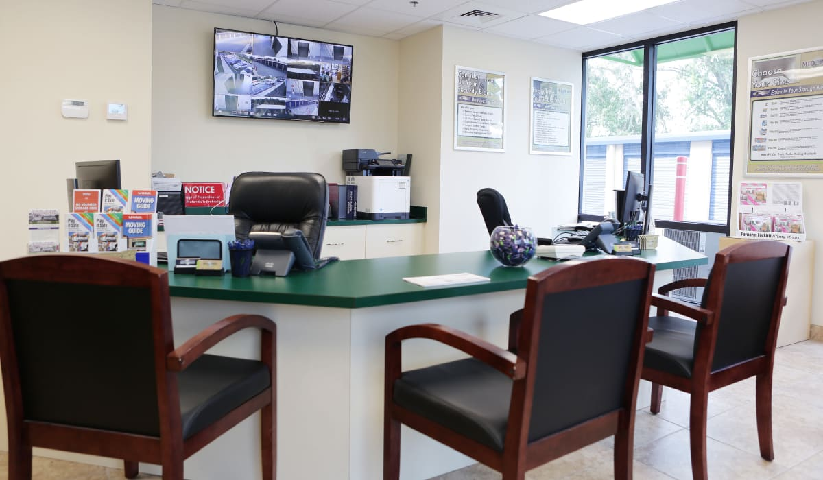 Leasing office at Midgard Self Storage in Bradenton, FL