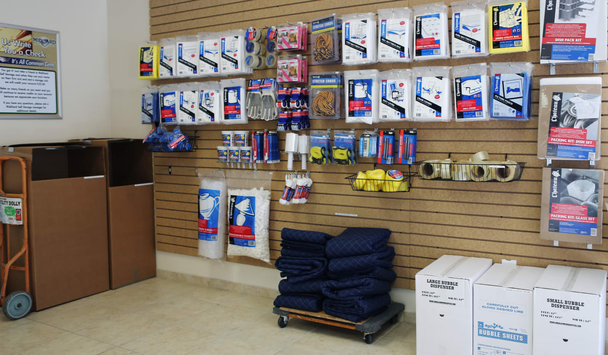 Packing supplies at Midgard Self Storage in Bradenton, FL