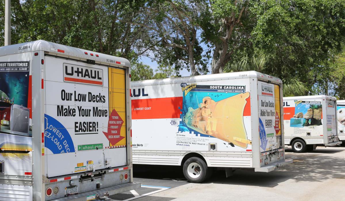 Moving trucks at Jupiter Park Self Storage in Jupiter, FL