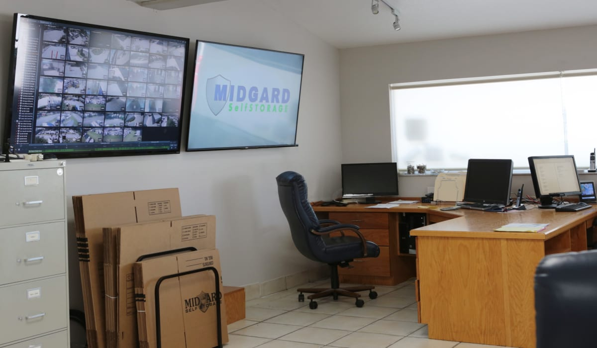 Leasing office at Midgard Self Storage in Lutz, FL