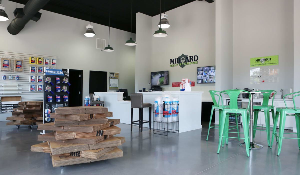 Packing supplies in the front office of Midgard Self Storage in Florence, Alabama
