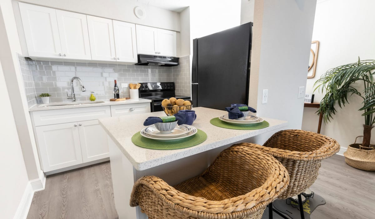 Bright and well decorated model kitchen at The Wayland in St Petersburg, Florida