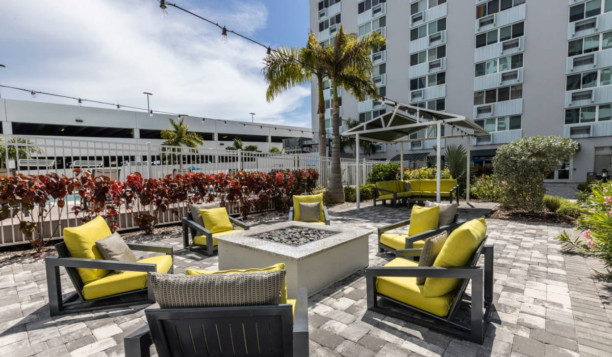 Outdoor furniture poolside at The Wayland in St Petersburg, Florida
