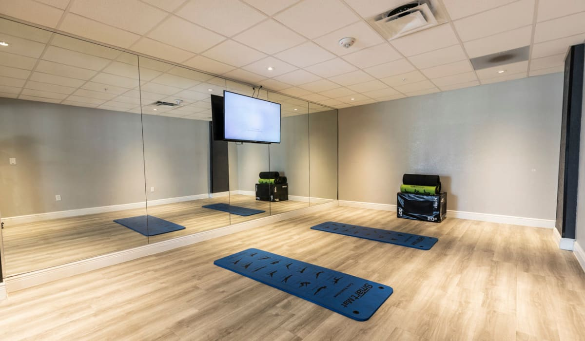 Yoga studio for residents at The Wayland in St Petersburg, Florida