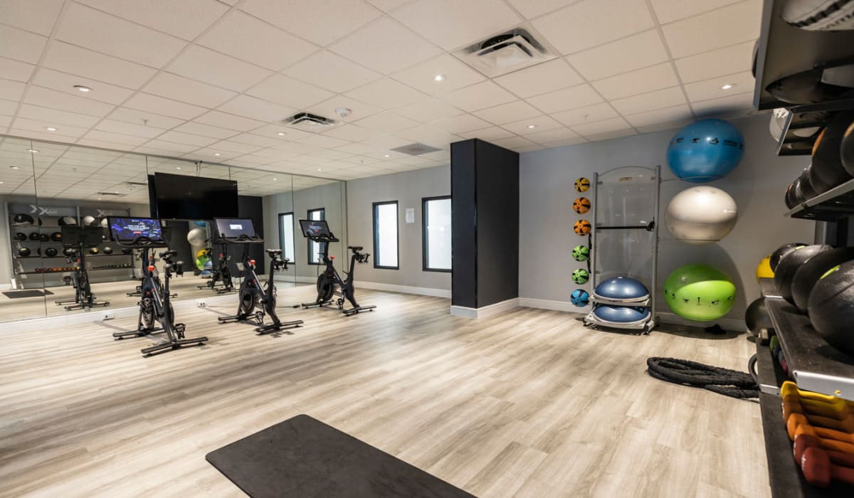 Yoga mats and exercise balls for residents at The Wayland in St Petersburg, Florida