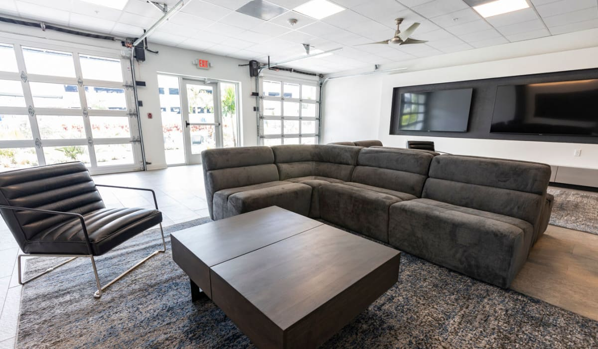 Couches and coffee table in the clubhouse at The Wayland in St Petersburg, Florida