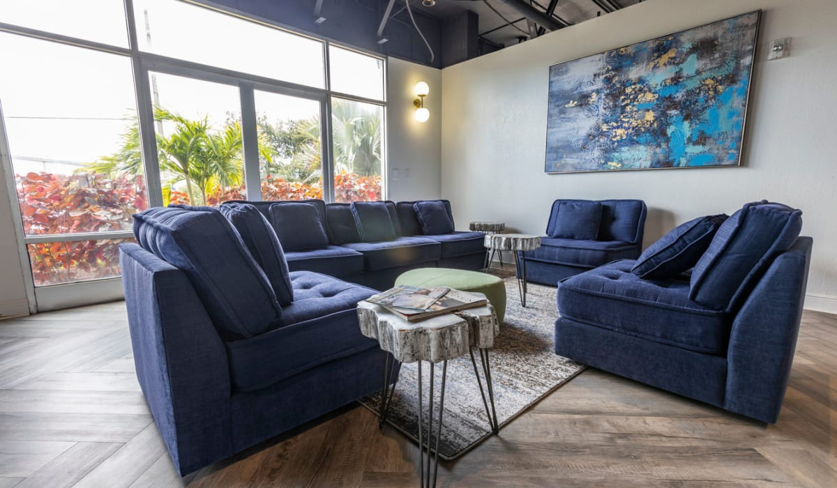 Modern decor in resident common area at The Wayland in St Petersburg, Florida