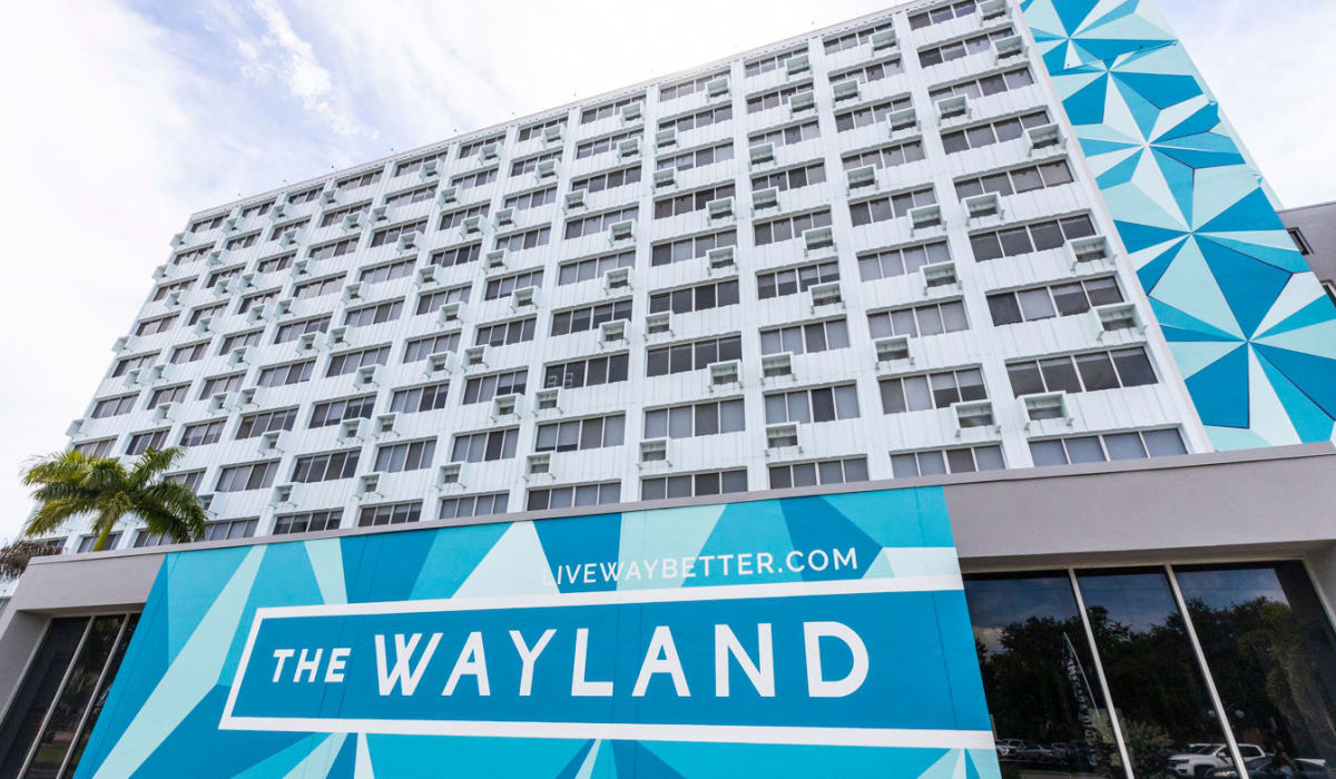 Front entrance to The Wayland in St Petersburg, Florida