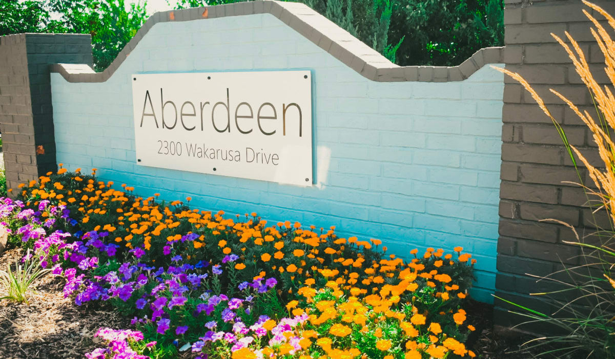 Front signage at Aberdeen Apartments in Lawrence, Kansas