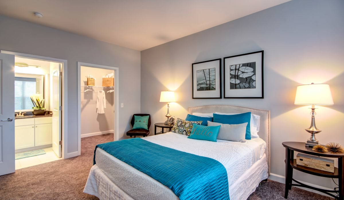 A large master bedroom with plush carpeting at Manassas Station Apartments in Manassas, Virginia
