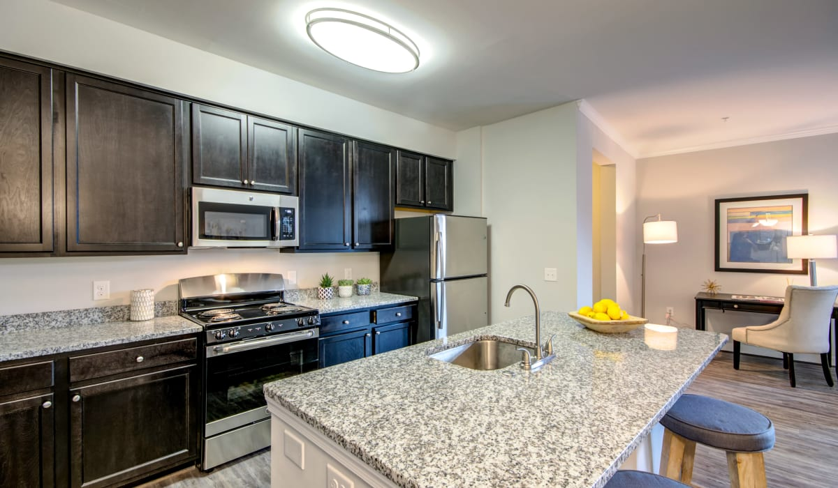A kitchen with plenty of countertop space at Manassas Station Apartments in Manassas, Virginia
