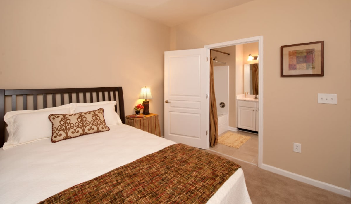 A large main bedroom at Meridian Watermark in North Chesterfield, Virginia