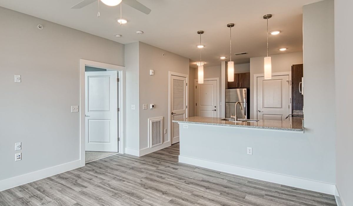 A kitchen overlooking the living room at Marina Villa in Norfolk, Virginia