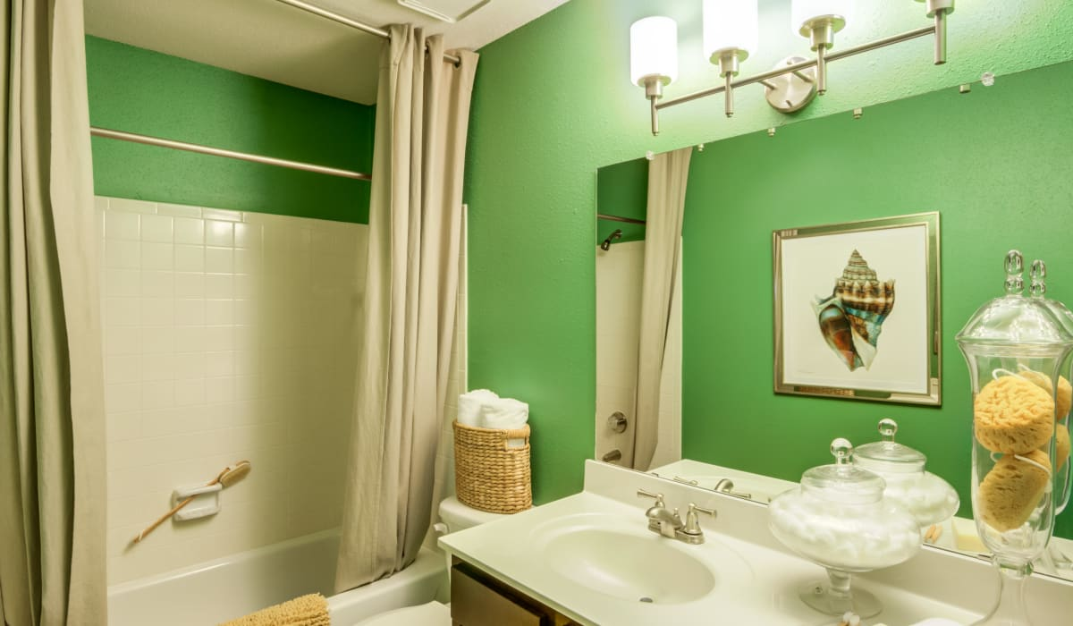 A large bathroom with a vanity mirror at Residences at Belmont in Fredericksburg, Virginia