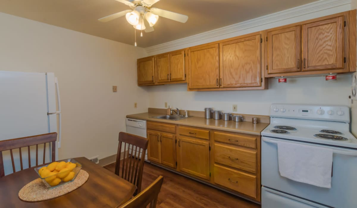 Kitchen with plenty of cabinet space at Rochester Highlands in Rochester, New York