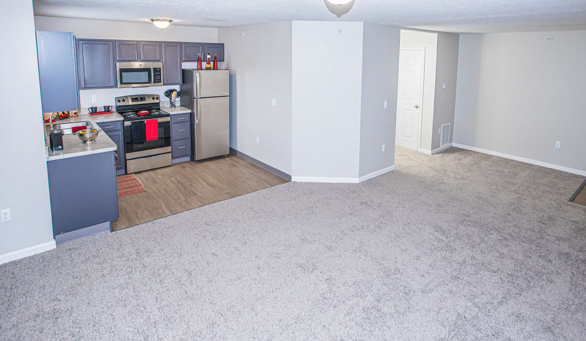 A kitchen with a wood-style flooring at Silver Lake Hills in Fenton, Michigan