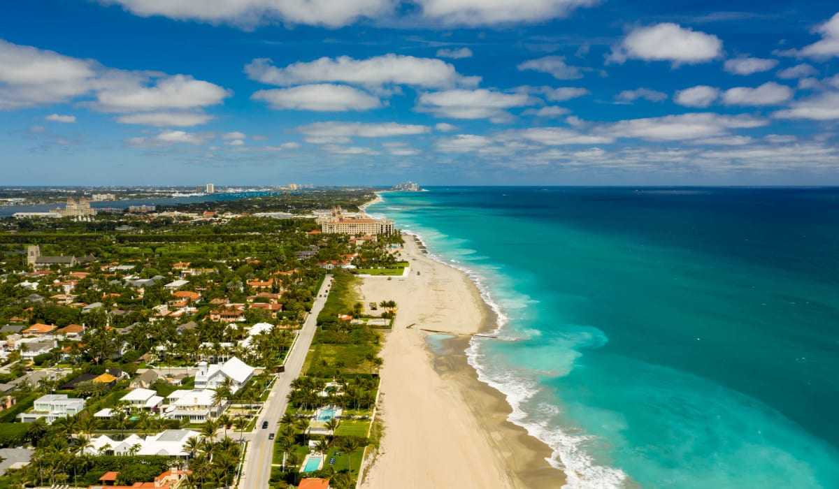 Aerial view of the beach on a gorgeous day near Solera at City Centre in Palm Beach Gardens, Florida