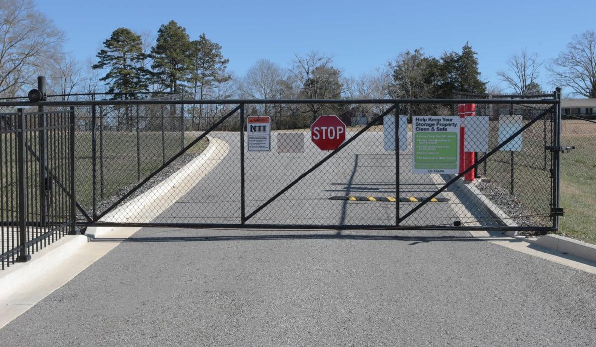Security gate of Midgard Self Storage in Eastanollee, Georgia
