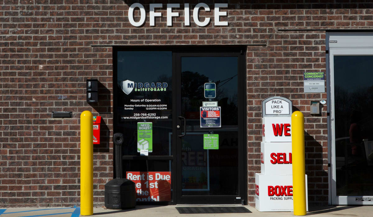 Front office of Midgard Self Storage in Florence, Alabama