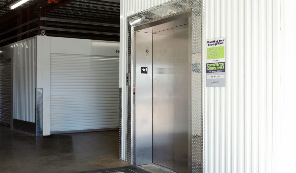 Elevator inside Midgard Self Storage in Florence, Alabama