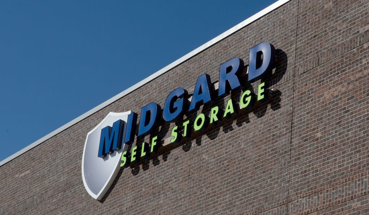 Facility sign for Midgard Self Storage in Florence, Alabama