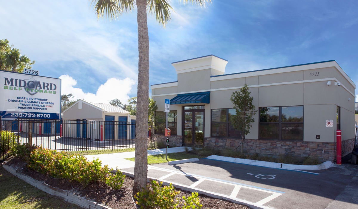 External view of the facility at Midgard Self Storage in Naples, FL