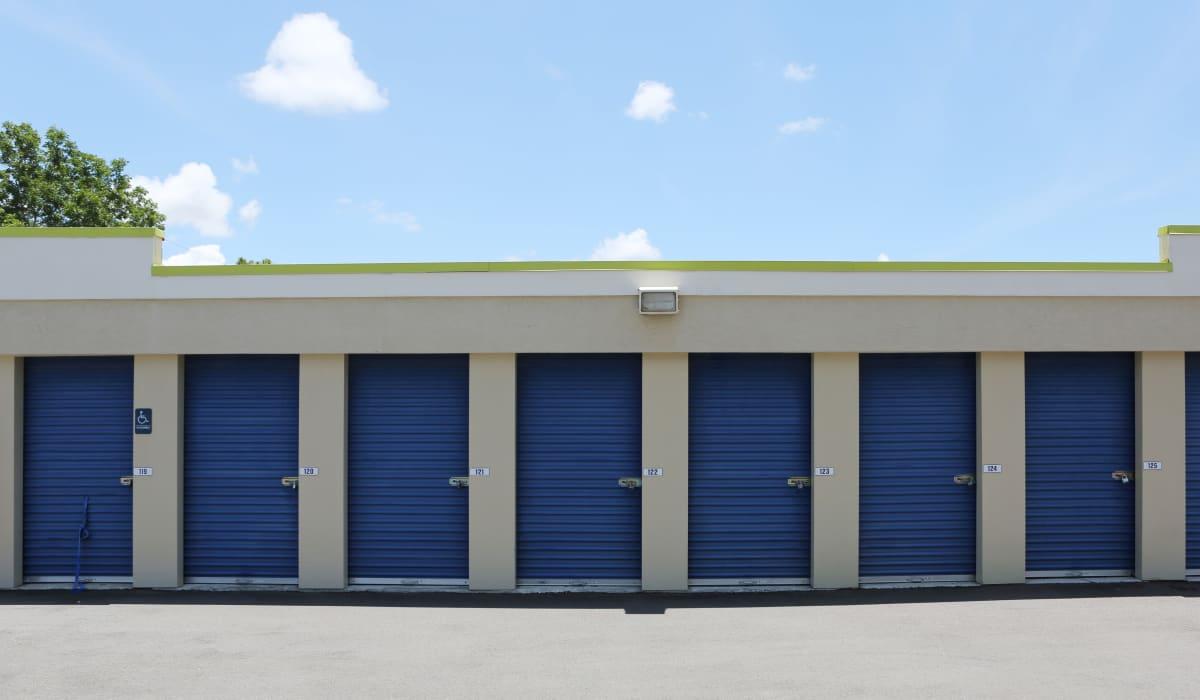 Blue storage units at Midgard Self Storage in Naples, FL