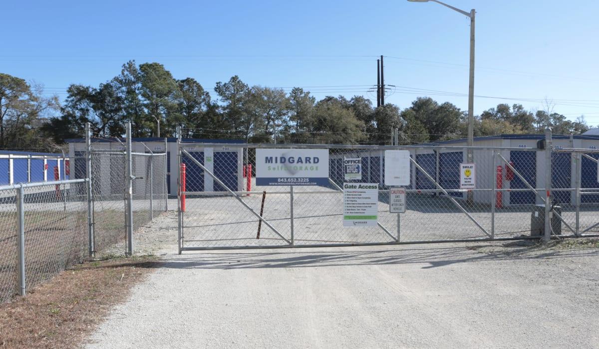 Security gate at Midgard Self Storage in Murrells Inlet, SC