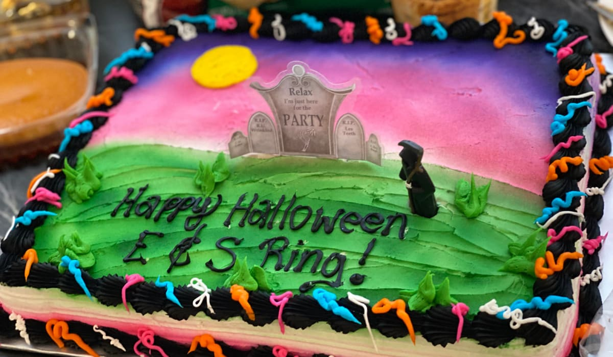 Halloween cake at E&S Ring Management Corporation in Los Angeles, California