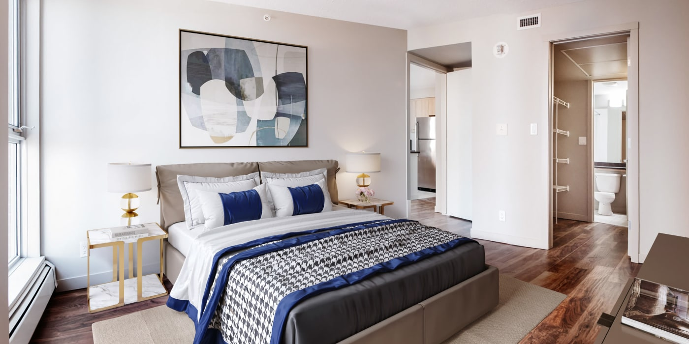 Master bedroom at Rouleau in Calgary
