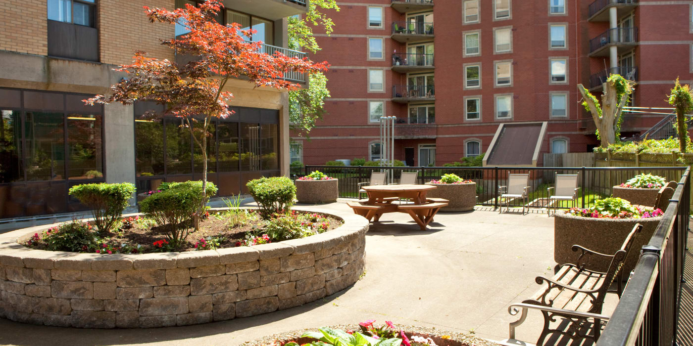 Beautiful courtyard at MacDonald Apartments in Halifax