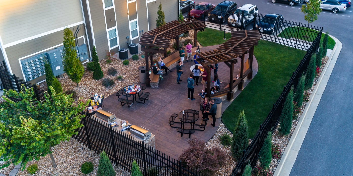 An aerial image of the spacious patio at Beacon Springfield in Springfield, Missouri