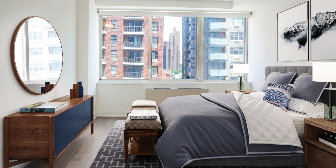 Cozy bedroom with tons of natural light at The Ventura in New York, New York