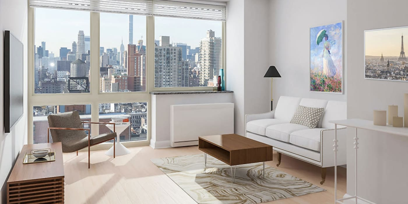 Stunning views from the open living room at The Ventura in New York, New York