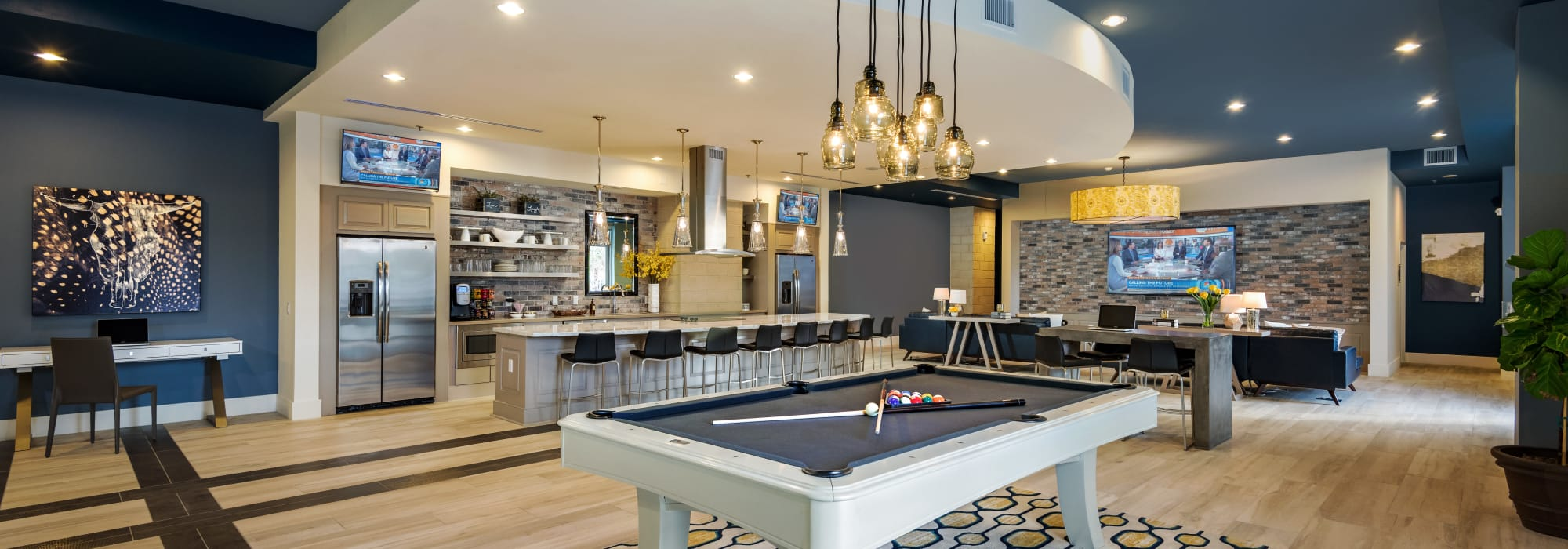 Billiards table and more in the resident clubhouse at Capital Place in Phoenix, Arizona
