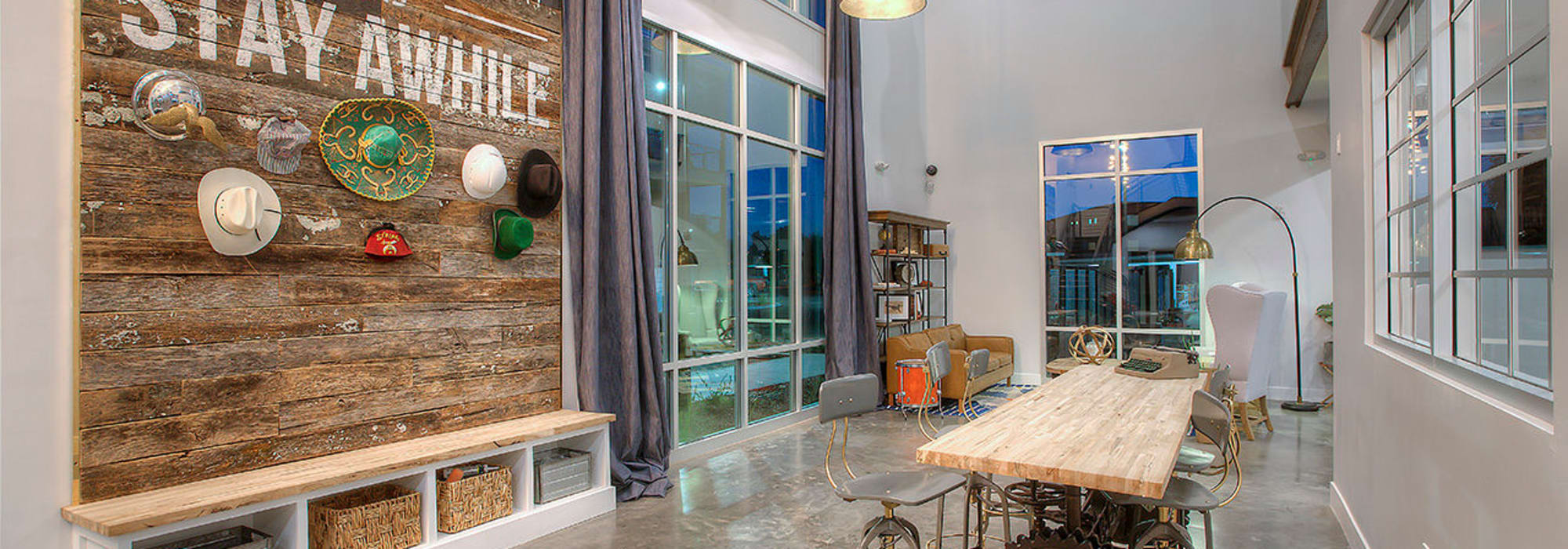 Rustic-modern lobby entrance interior at District Lofts in Gilbert, Arizona