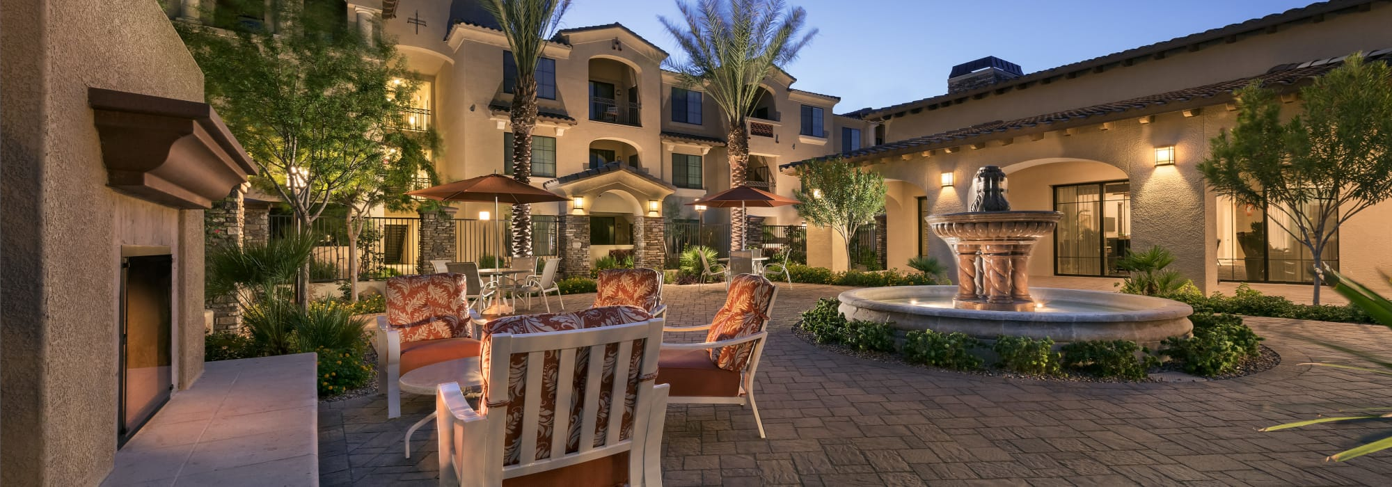 Courtyard with fountain at San Milan in Phoenix, Arizona