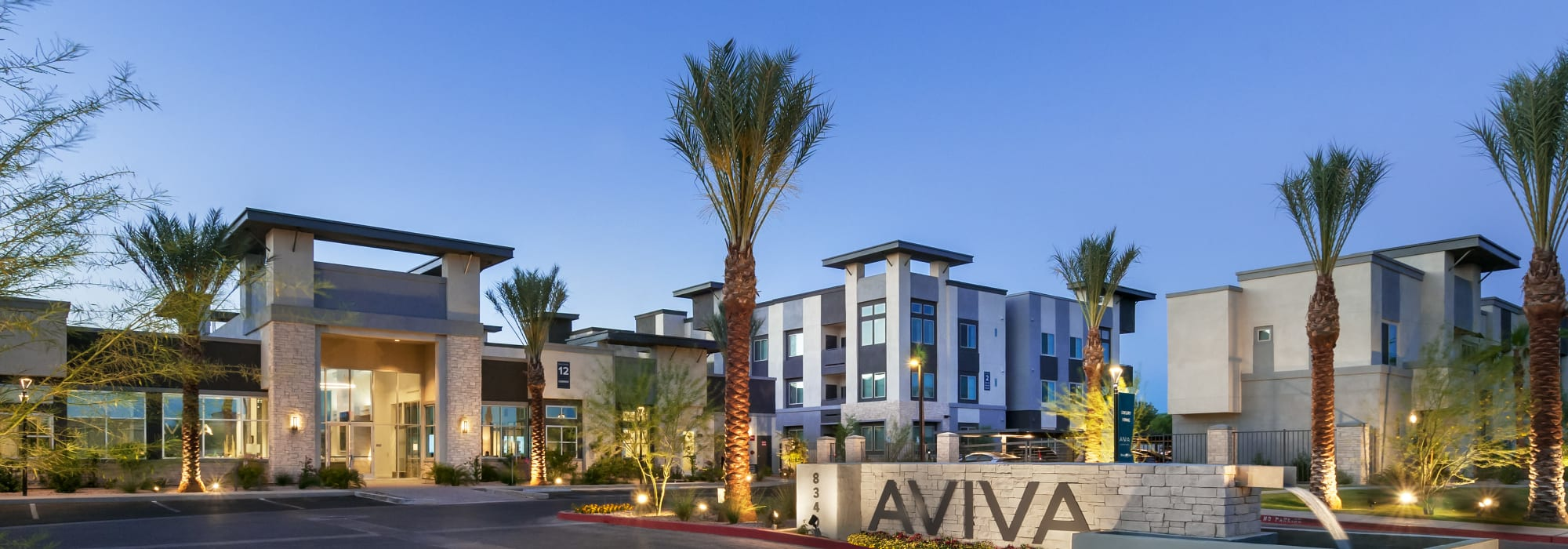 Entrance and front office at Aviva in Mesa, Arizona