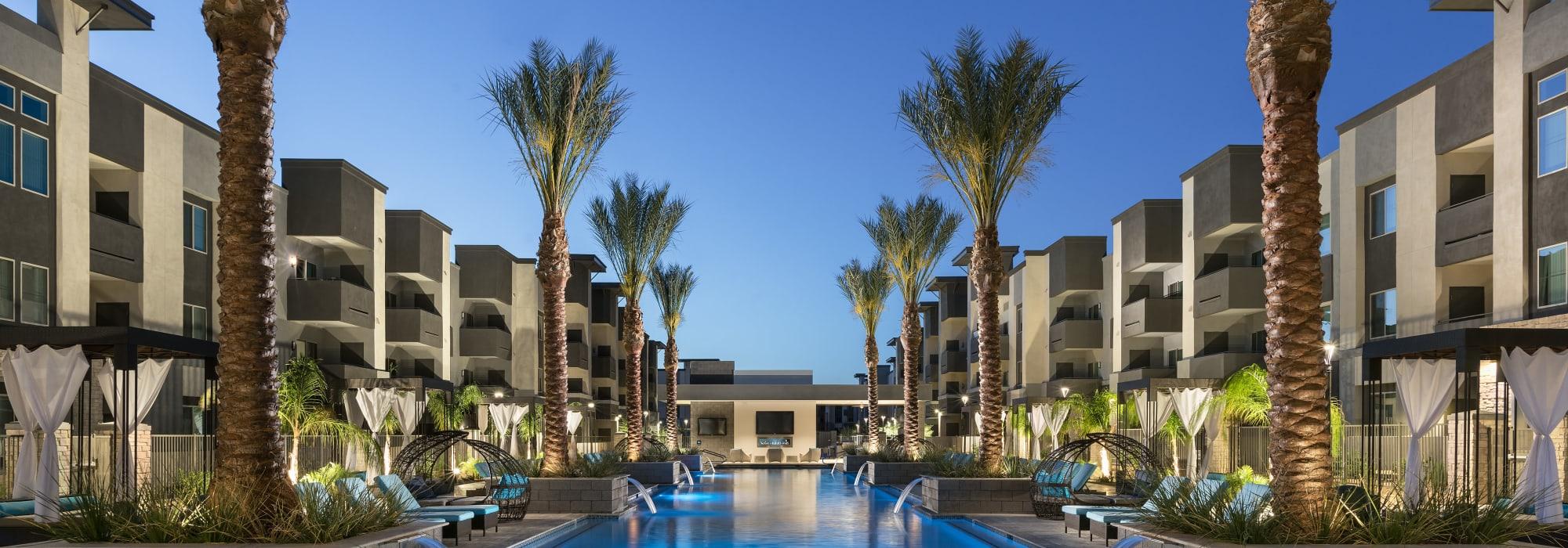 pool at nighttime Aviva in Mesa, Arizona