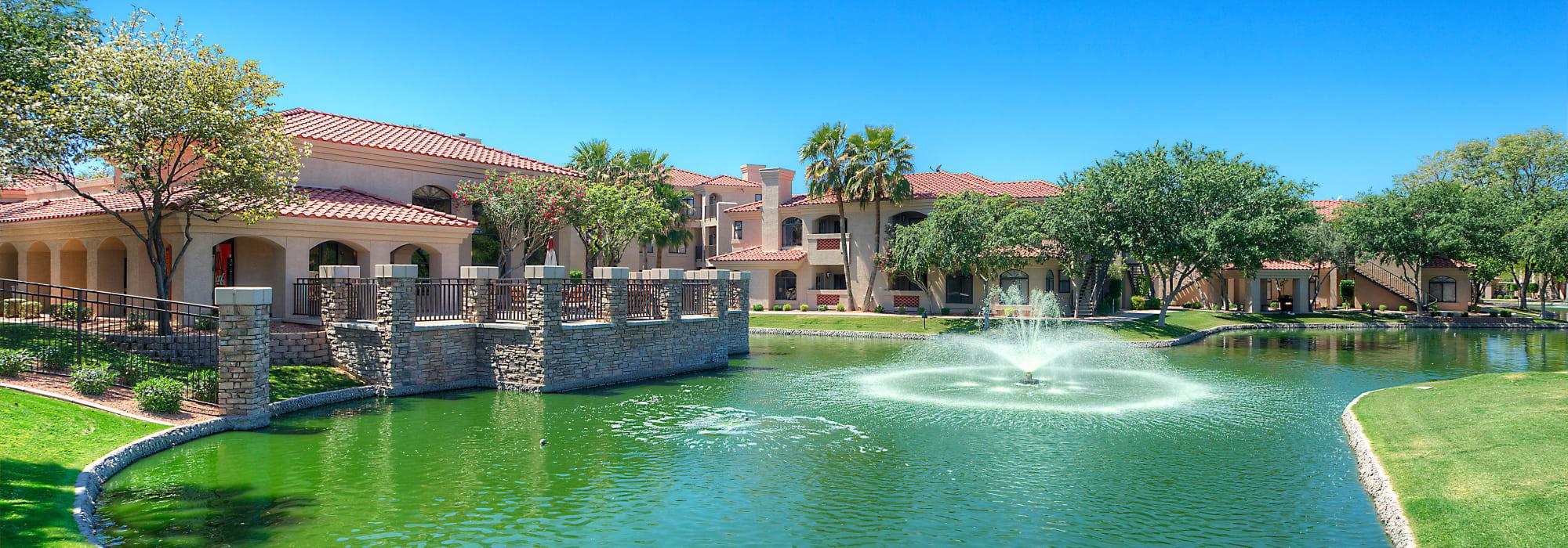 Apartment community pond at San Lagos in Glendale, Arizona