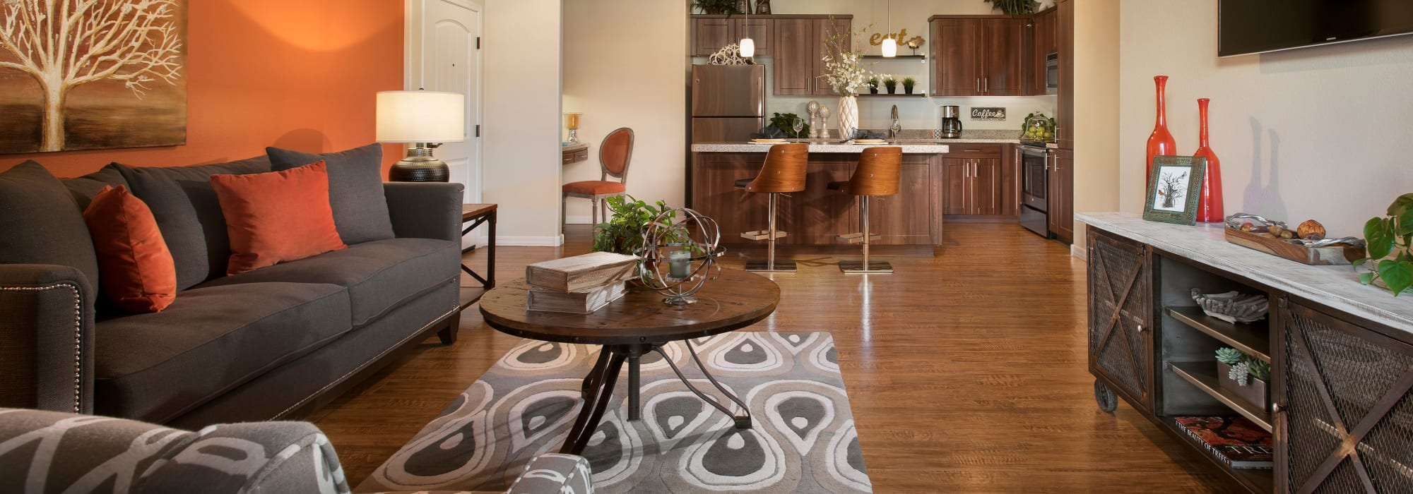 Large decorated open-floor plan at San Privada in Gilbert, Arizona