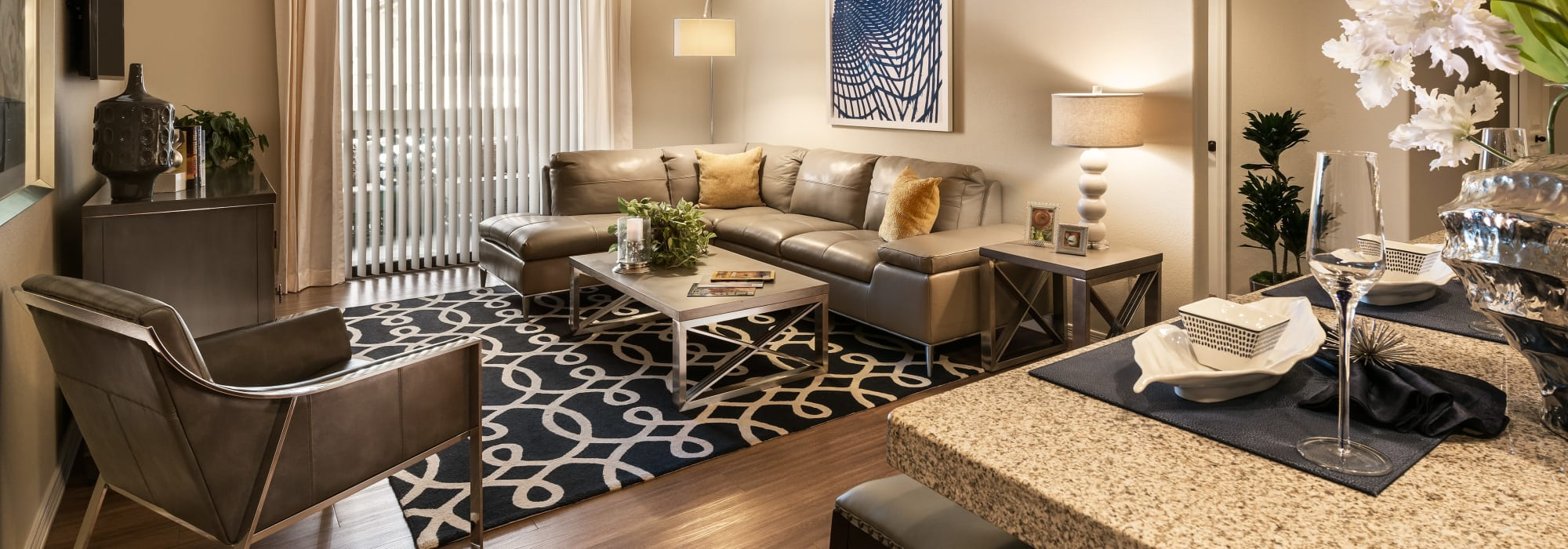 Large decorated living room at San Valencia in Chandler, Arizona