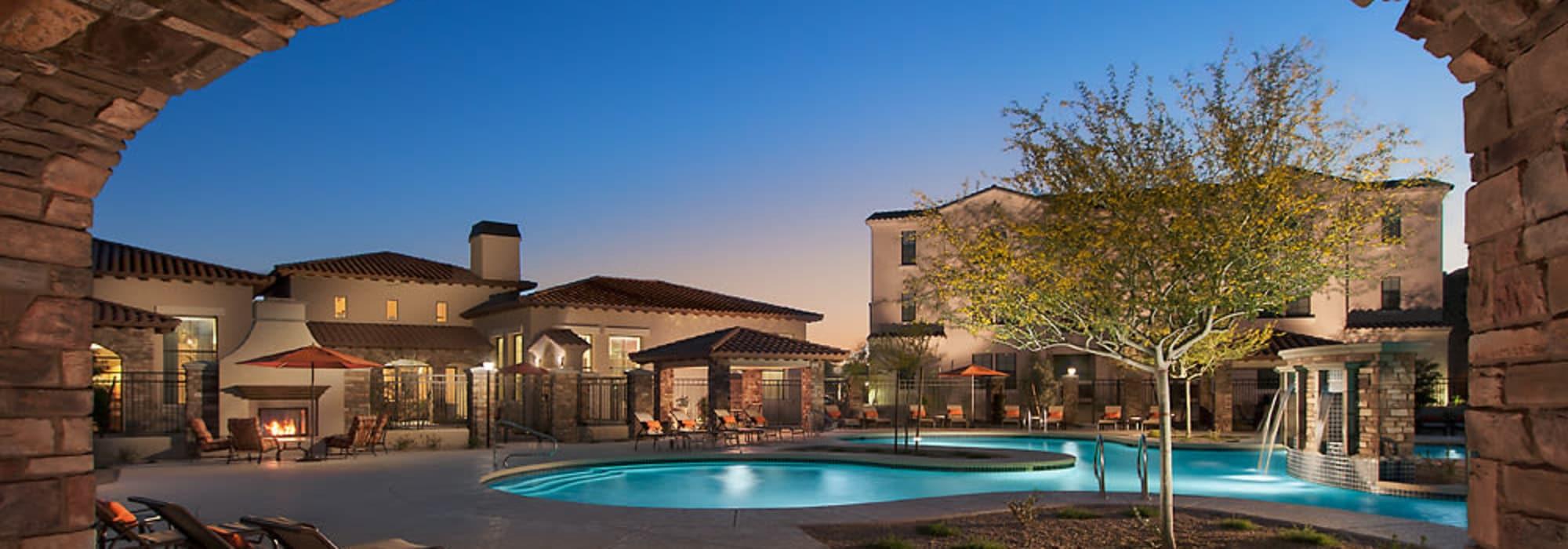 Poolside lounge chairs at San Norterra in Phoenix, Arizona