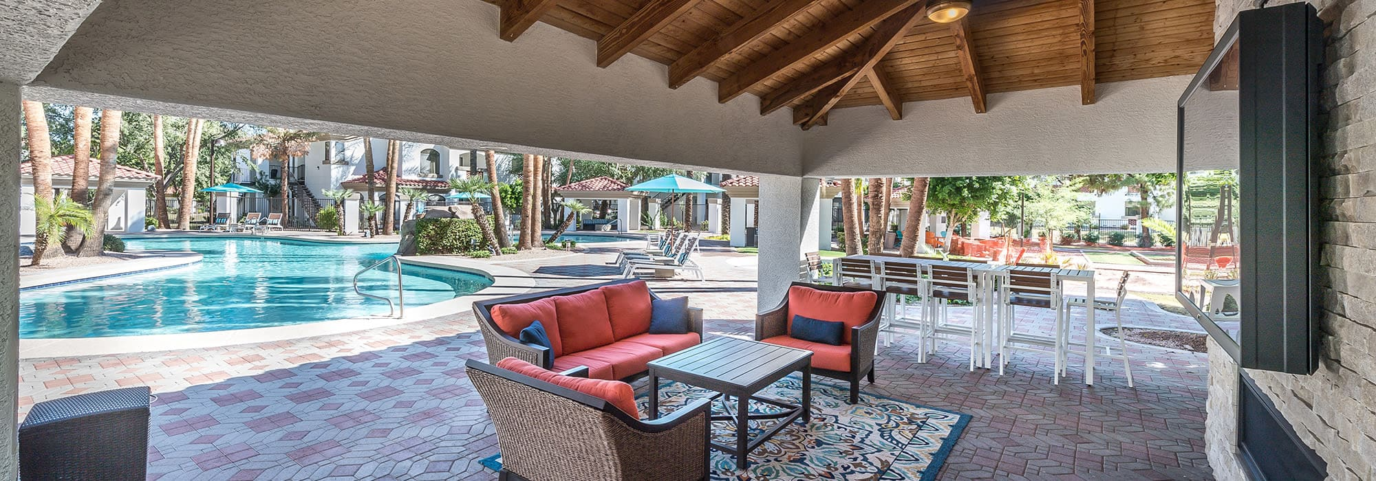Cabana with seating at San Palmas in Chandler, Arizona