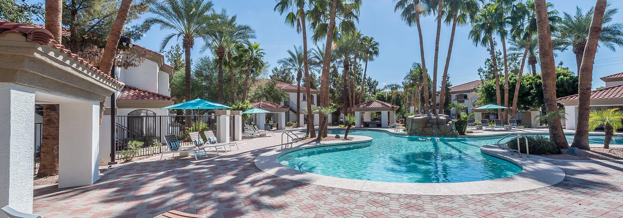 Resort style swimming pool at San Palmas in Chandler, Arizona