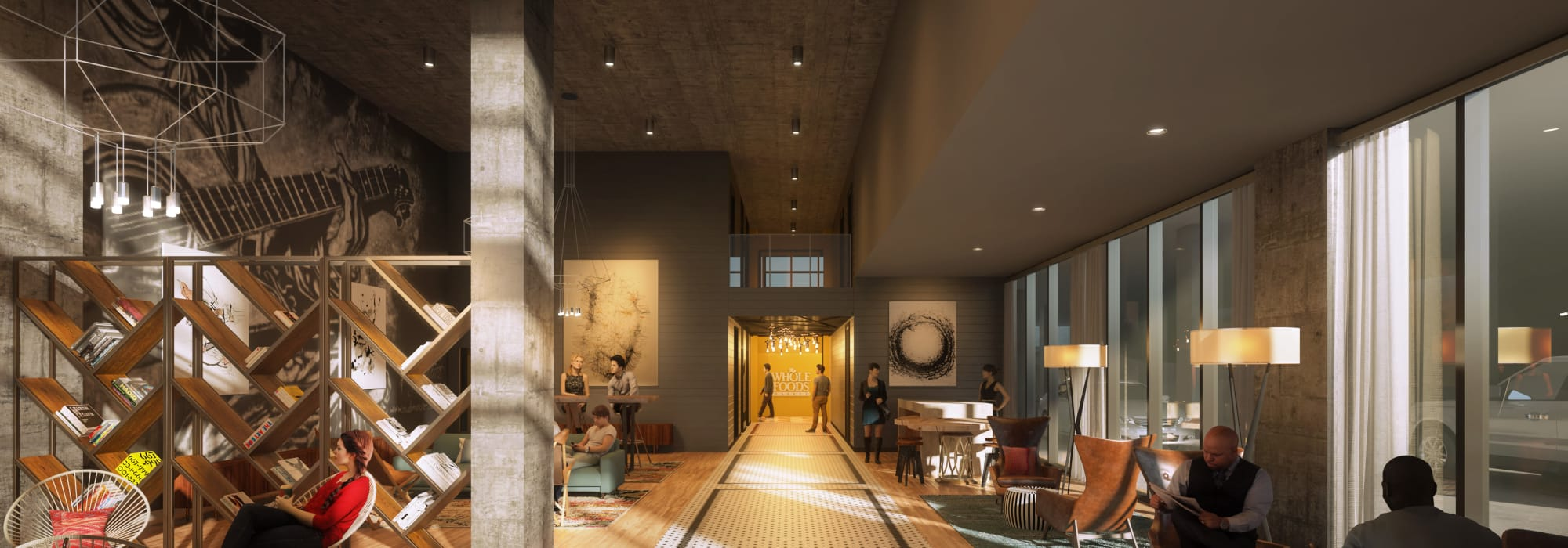 Rendering of the lobby interior at The Local Apartments in Tempe, Arizona