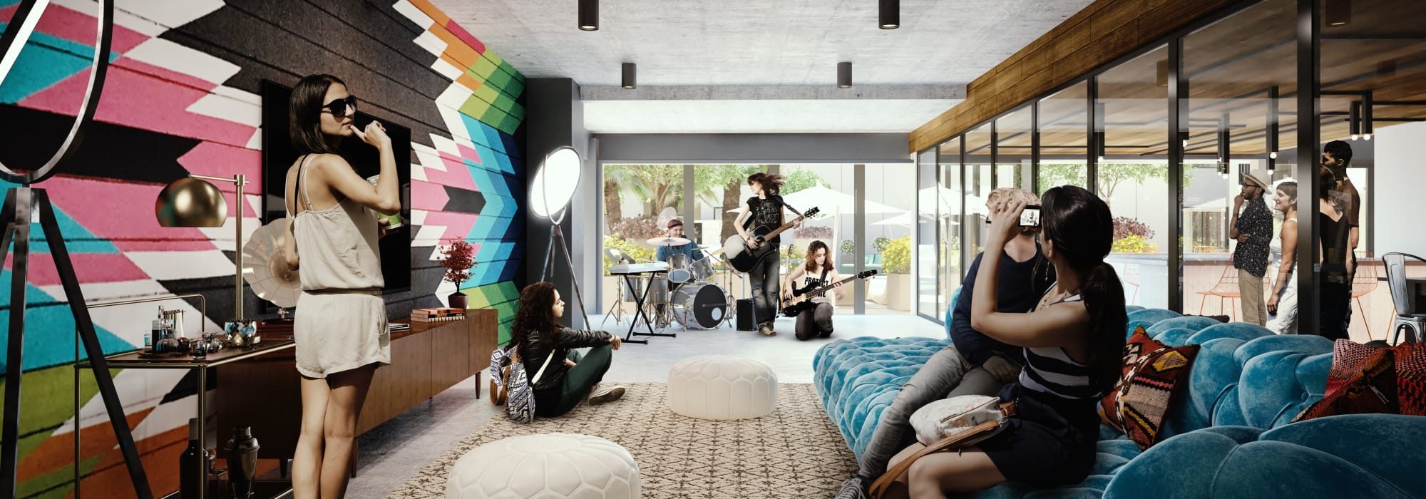 Rendering of the music lounge at The Local Apartments in Tempe, Arizona