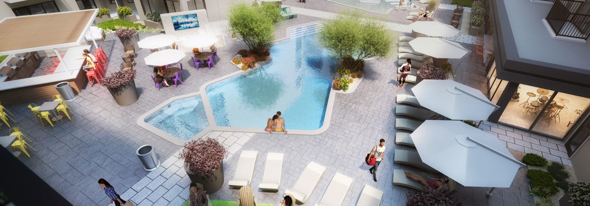 Rendering of the pool area at The Local Apartments in Tempe, Arizona