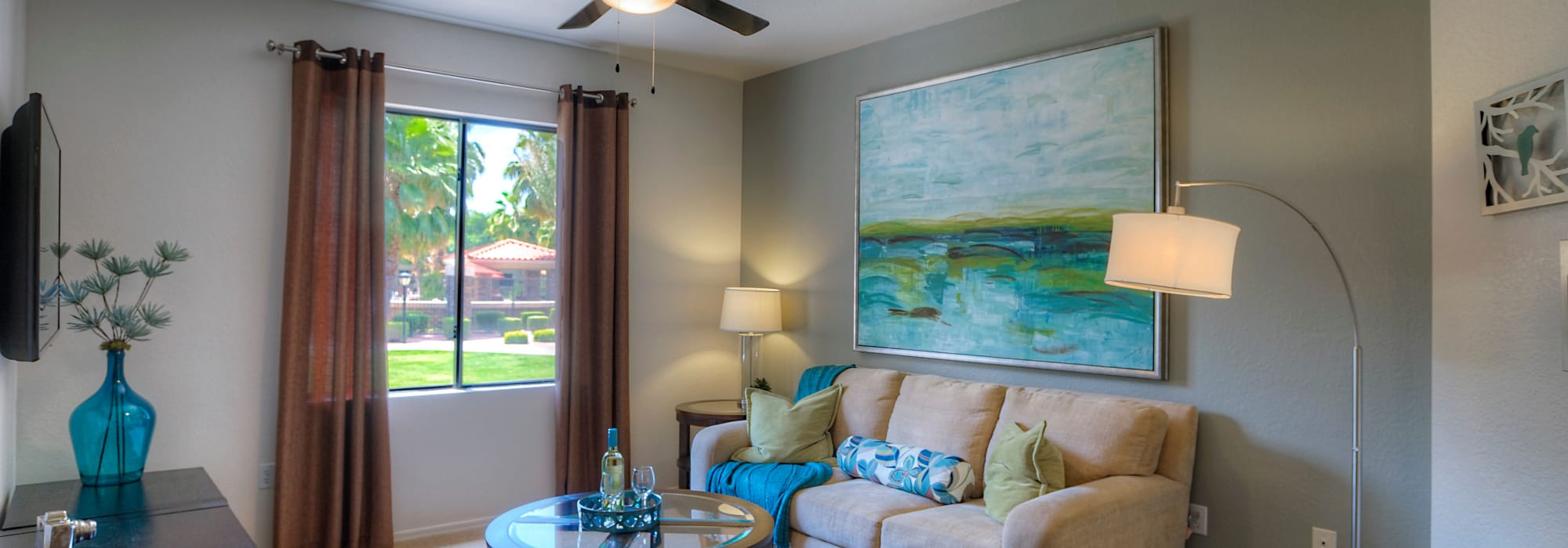 Beautiful model living room at San Palacio in Chandler, Arizona
